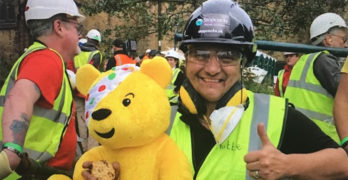 Hattie-and-Pudsey-at-the-Children-in-Need-Big-Build-in-Blackburn-September-2019