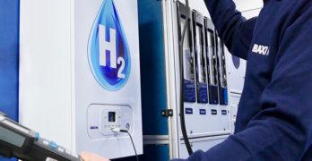 A Baxi engineer working on a hydrogen boiler