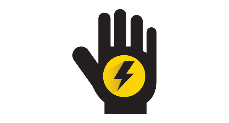 A decorative image showing a hand with a lightning strike