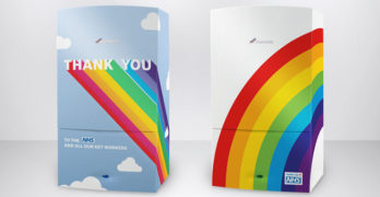 An image of two Worcester Bosch boilers branded with rainbows to thank the NHS and keyworkers