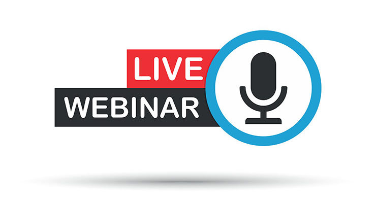 A decorative image that says Live Webinar