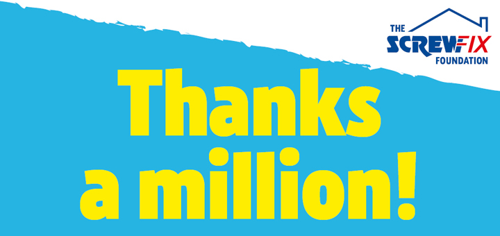 A Thankyou image from the Screwfix Foundation