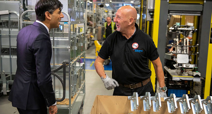 The Chancellor of the Exchequer Rishi Sunak visiting Worcester Bosch's factory
