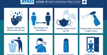 Graphic showing safe working practices for tradespeople during covid