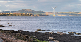 Wind turbine in a bay in Levenmouth, Fife