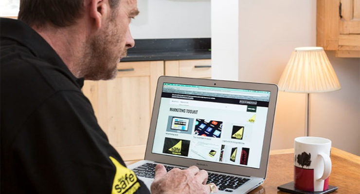 Gas engineer looking at computer screen
